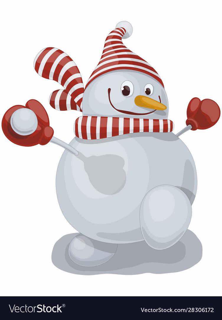 Funny cartoon smiling snowman