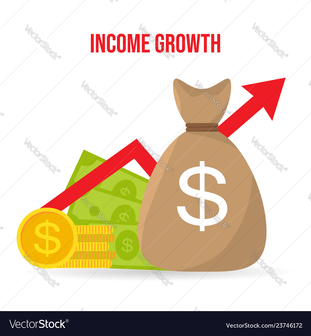 Income growth return on investment flat style