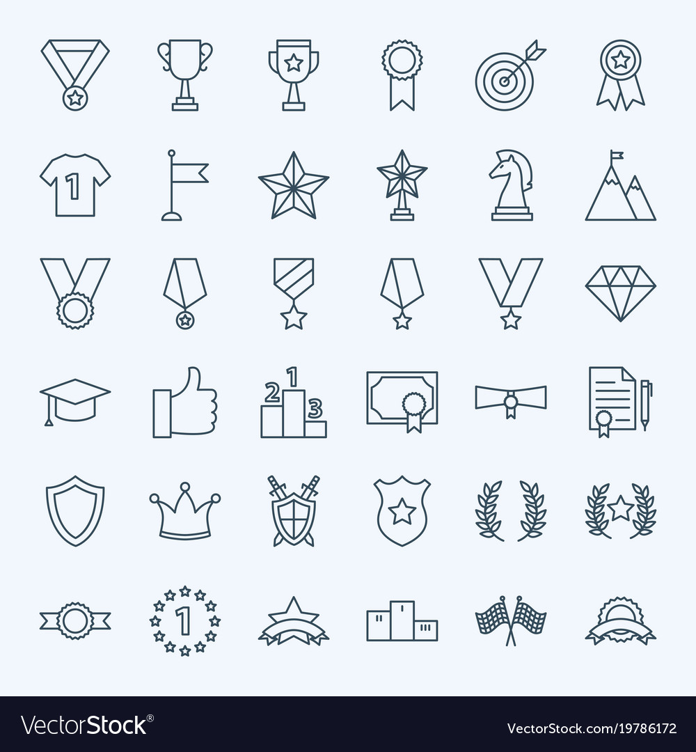 Line win award icons vector image