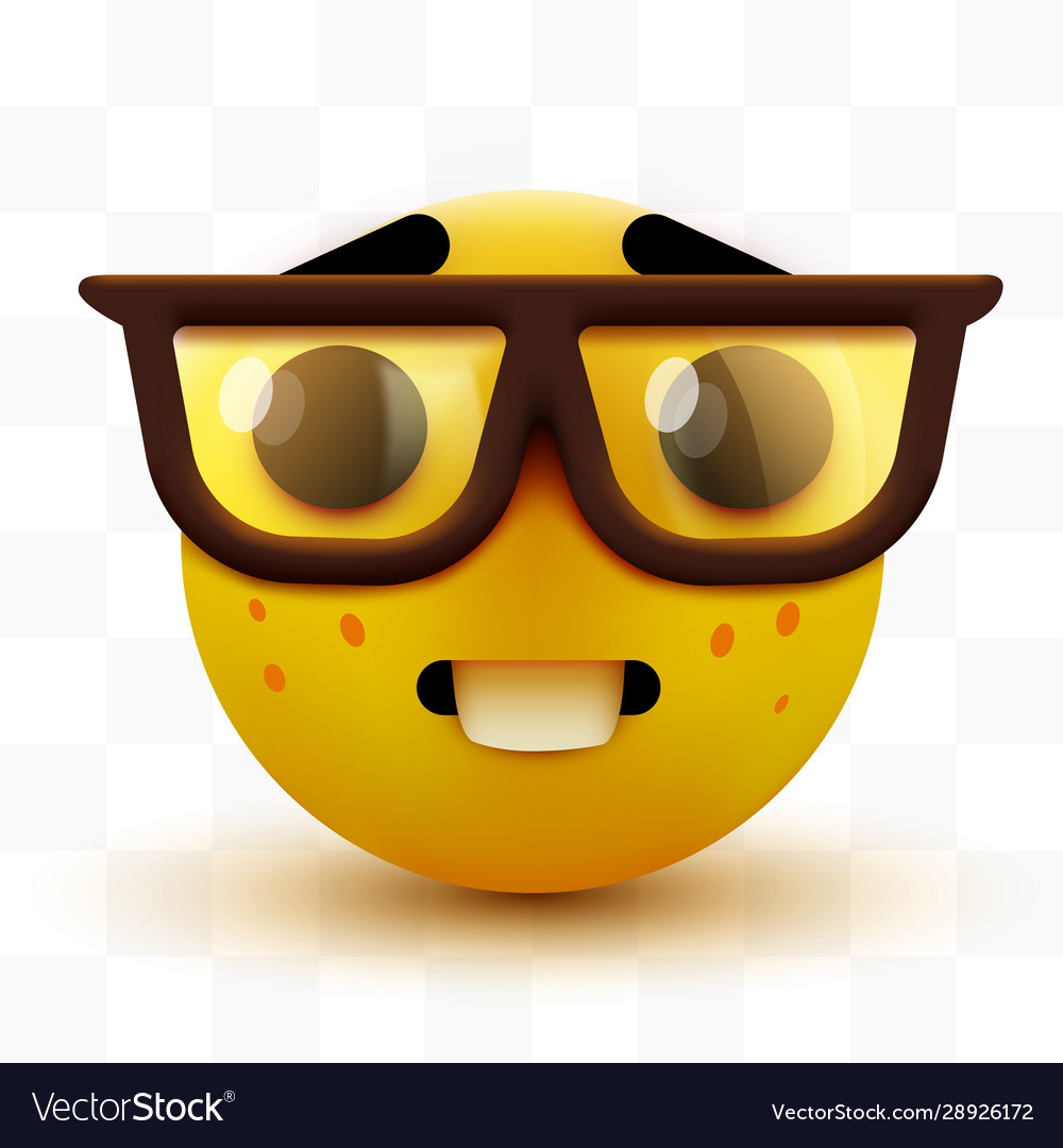 Nerd face emoji clever emoticon with glasses Vector Image