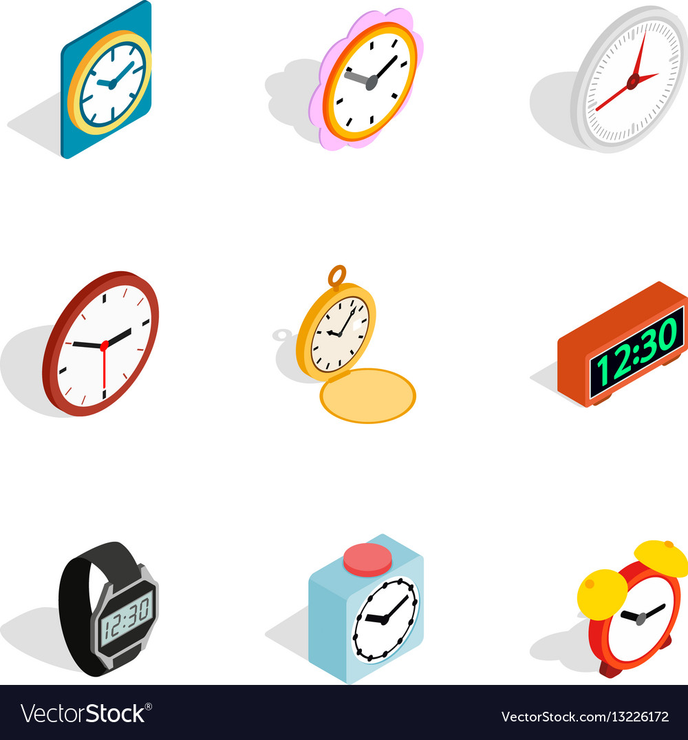 Time equipment icons isometric 3d style