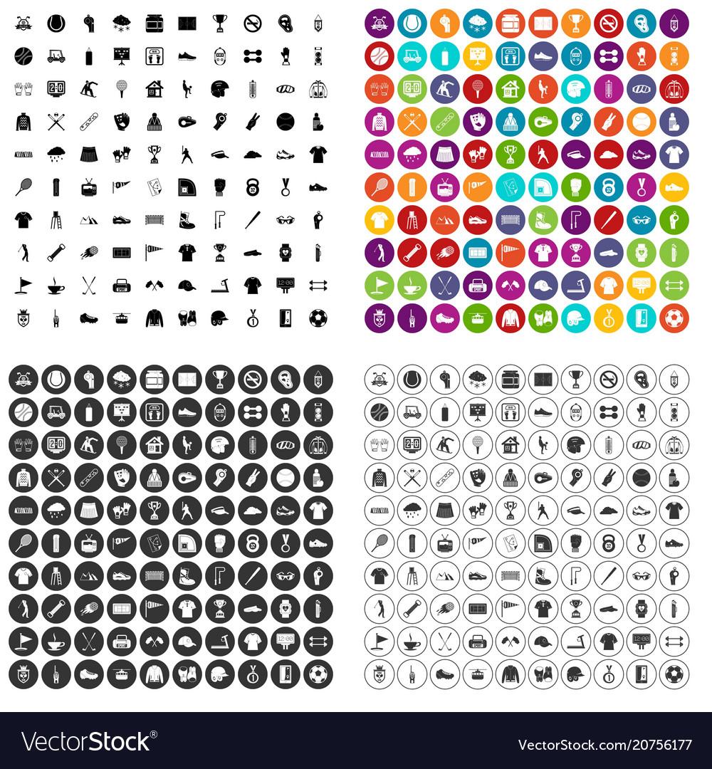 100 sport club icons set variant