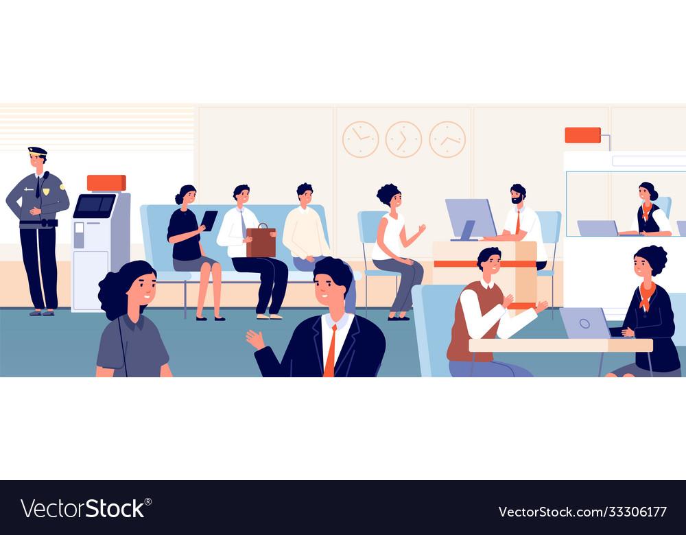 Bank office customers banking interior woman