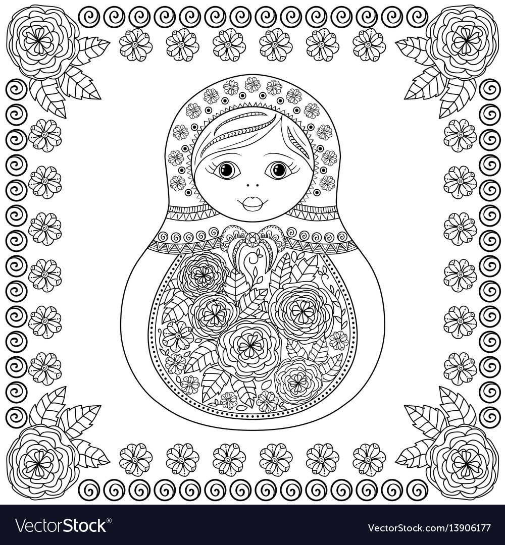 Coloring book - russian matrioshka doll