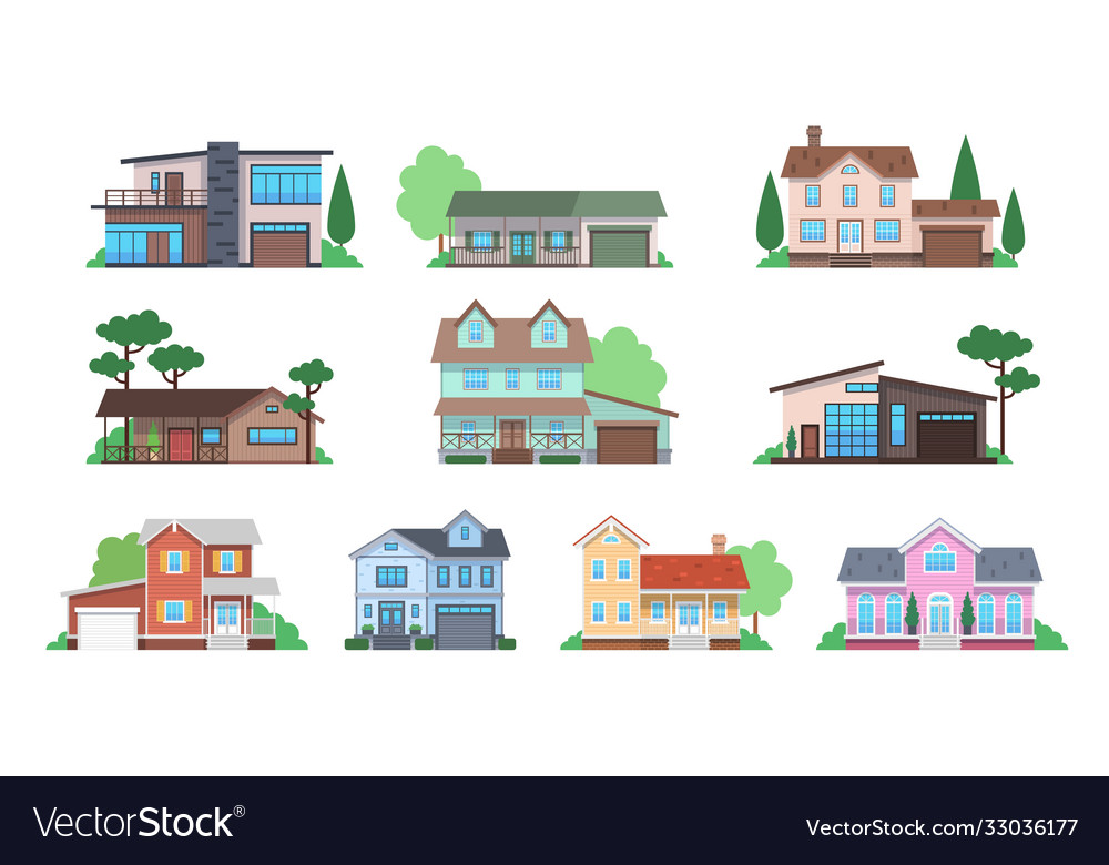 Cottages home facades cottage or suburban