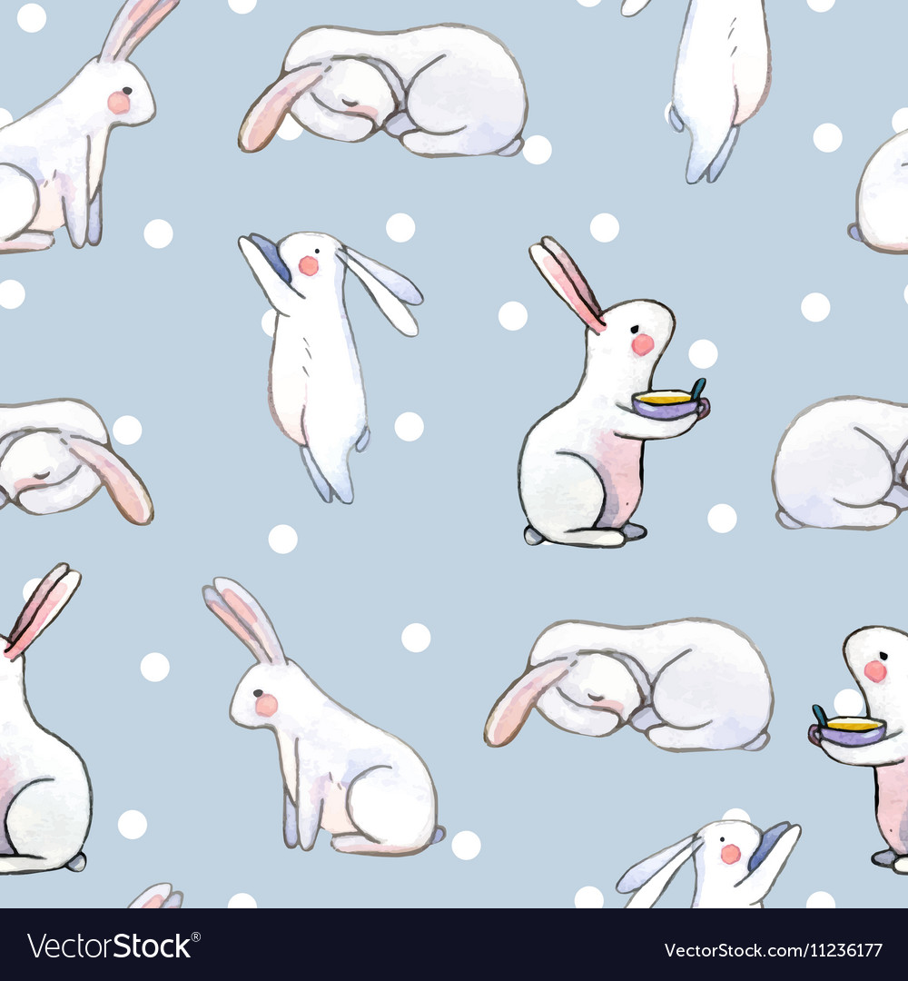 Cute seamless pattern with watercolor rabbits