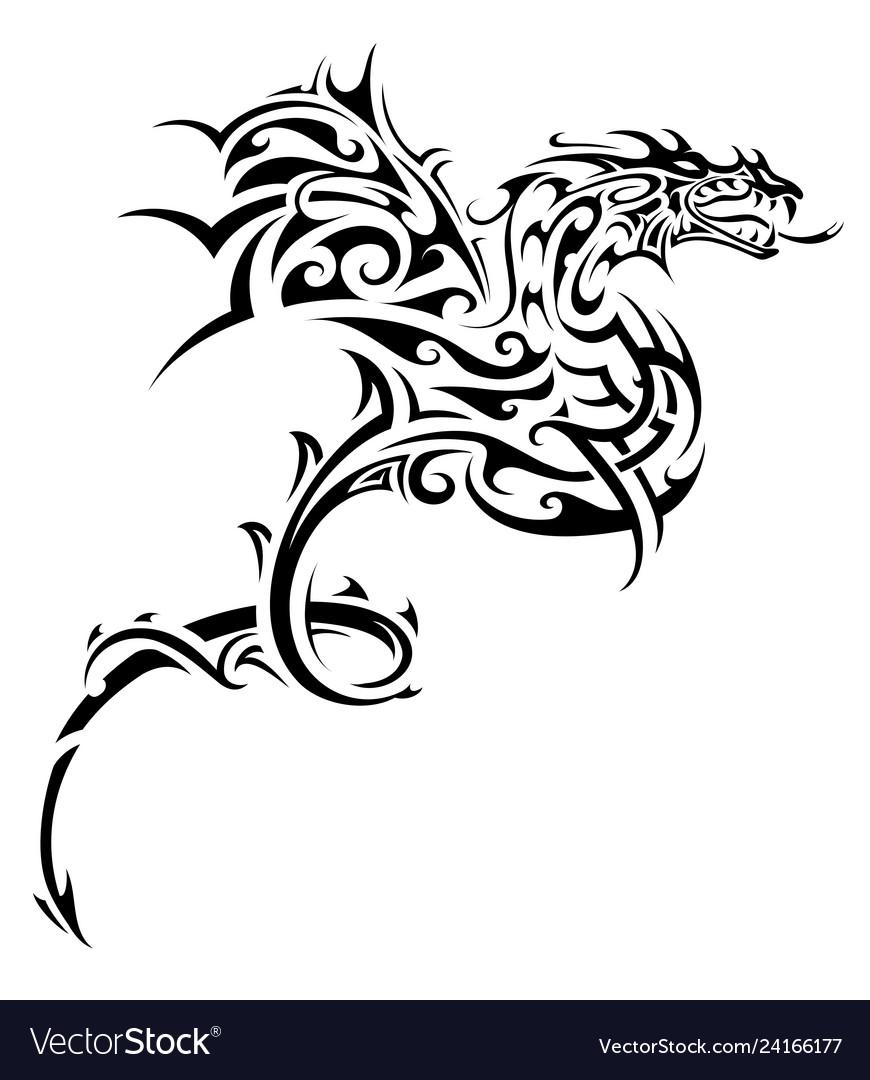 Dragon tribal tattoo Royalty Free Vector Image