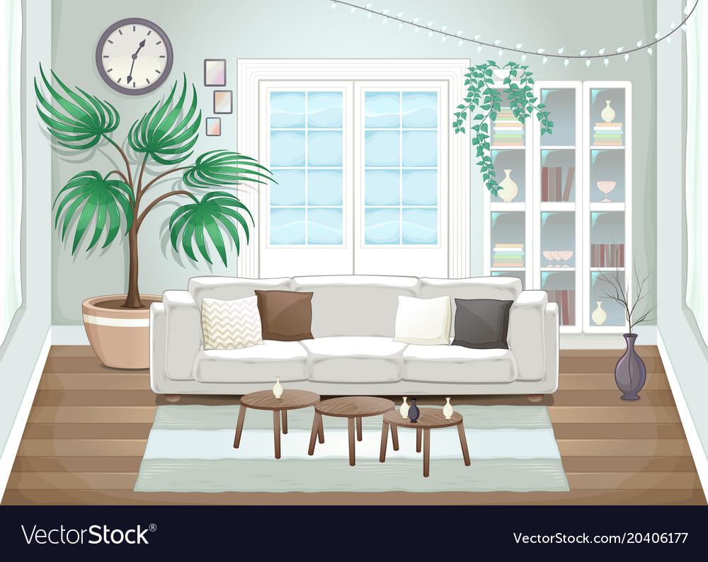Elegant living room Royalty Free Vector Image - VectorStock