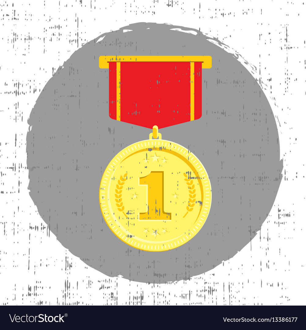 Gold medal with grunge effect