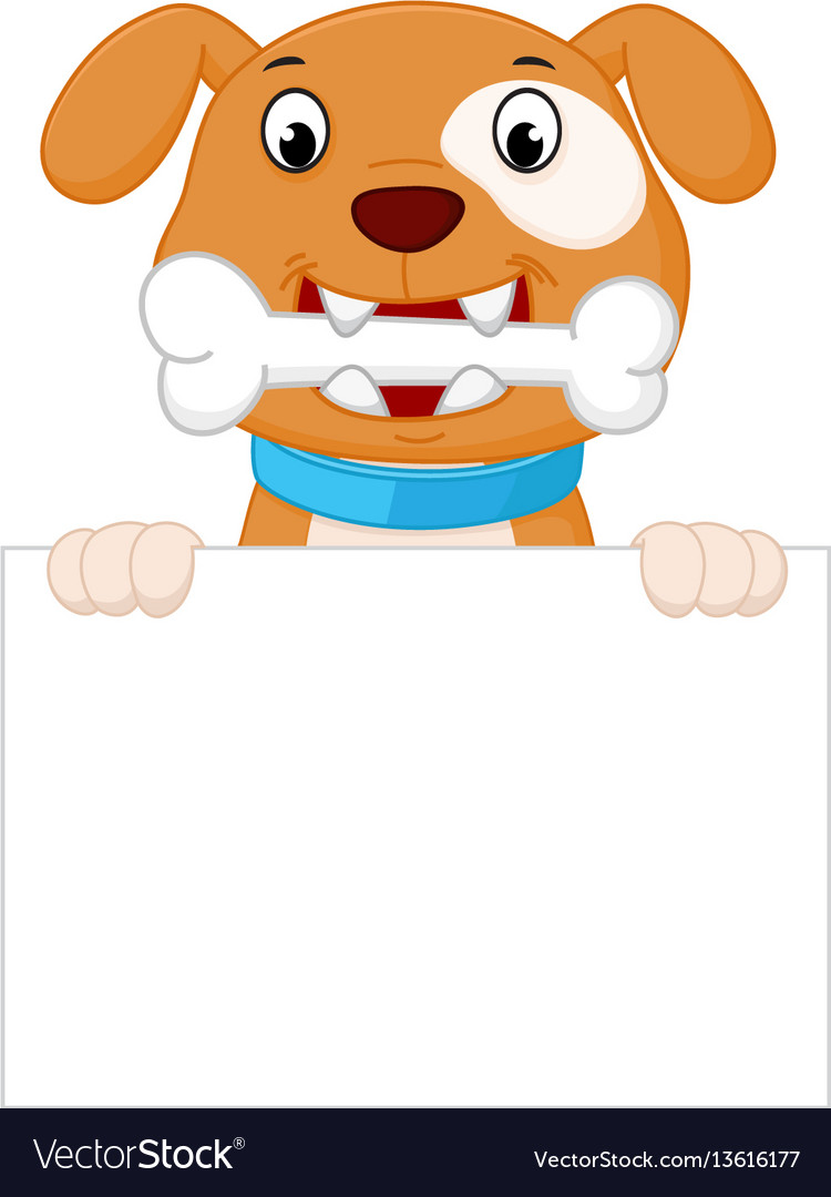 Happy dog cartoon with bone