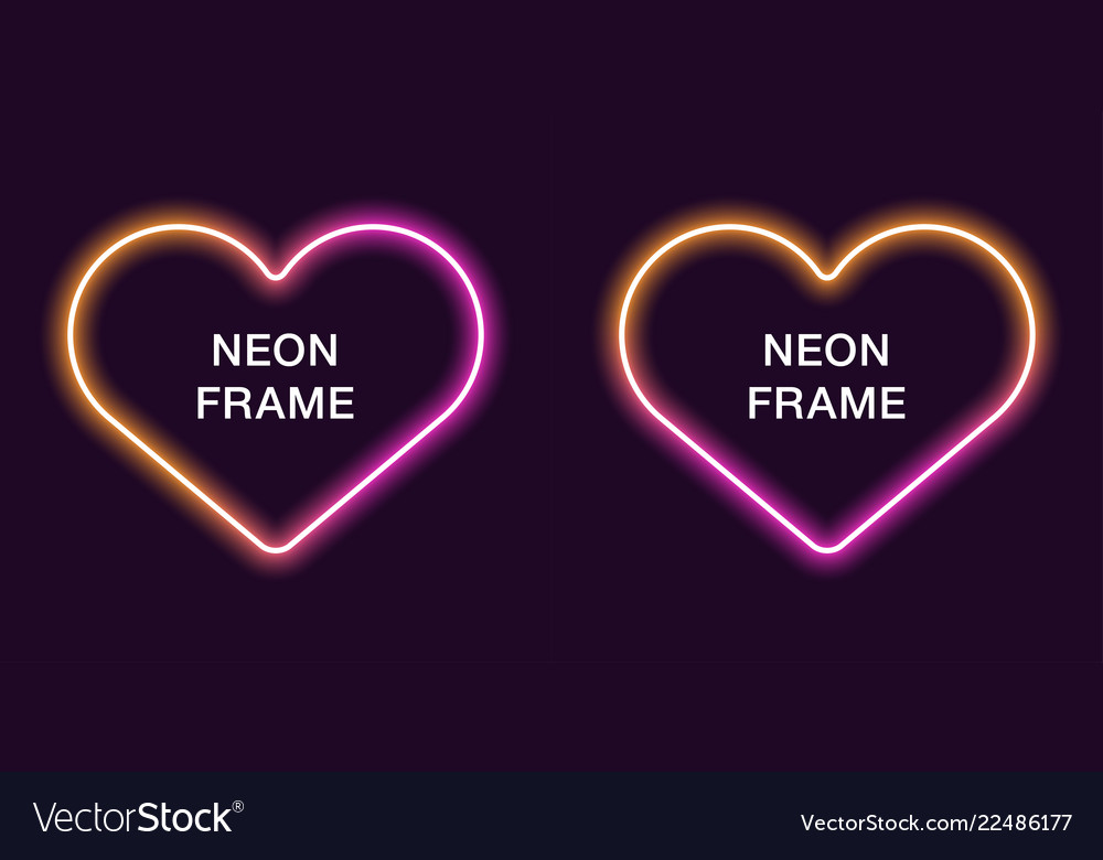 Neon Frame In Heart Shape Template Royalty Free Vector Image