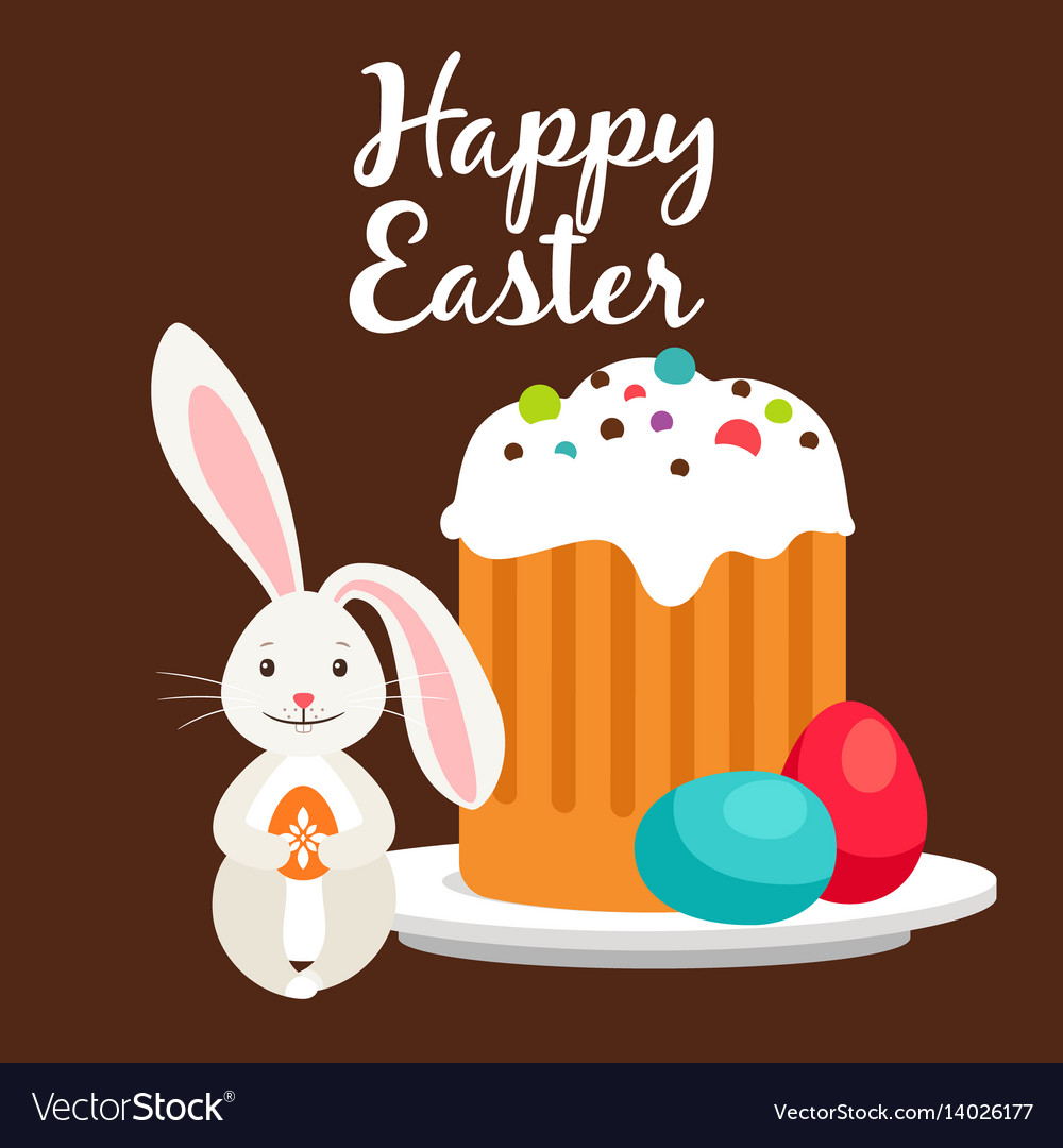 Rabbit and easter cake greeting card
