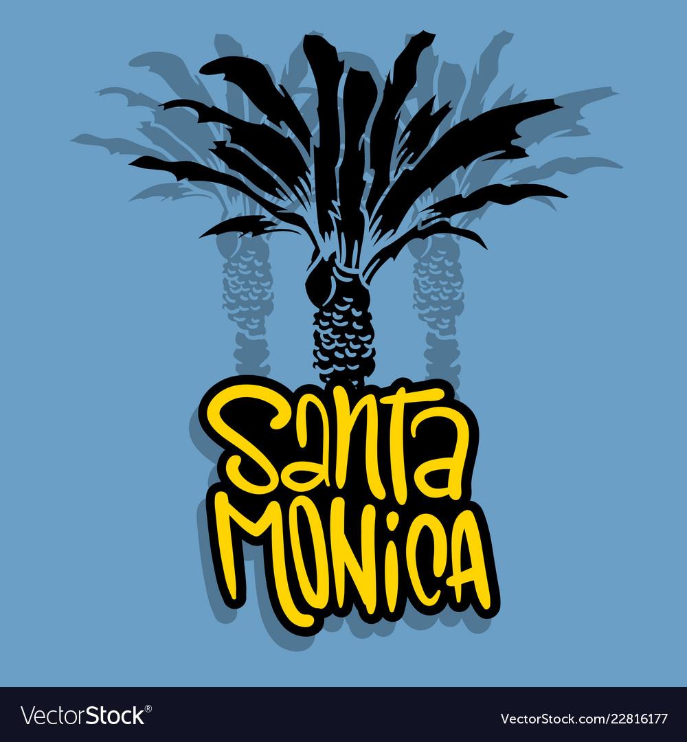 Santa monica california design with palm tree