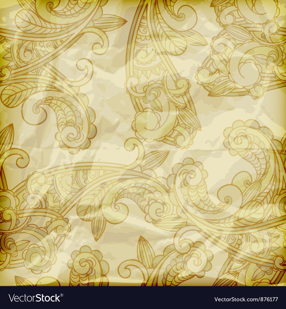 Seamless paisley pattern on crumpled golden foil vector image