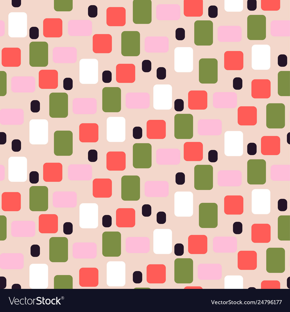Simple geometric shapes pink and green seamless