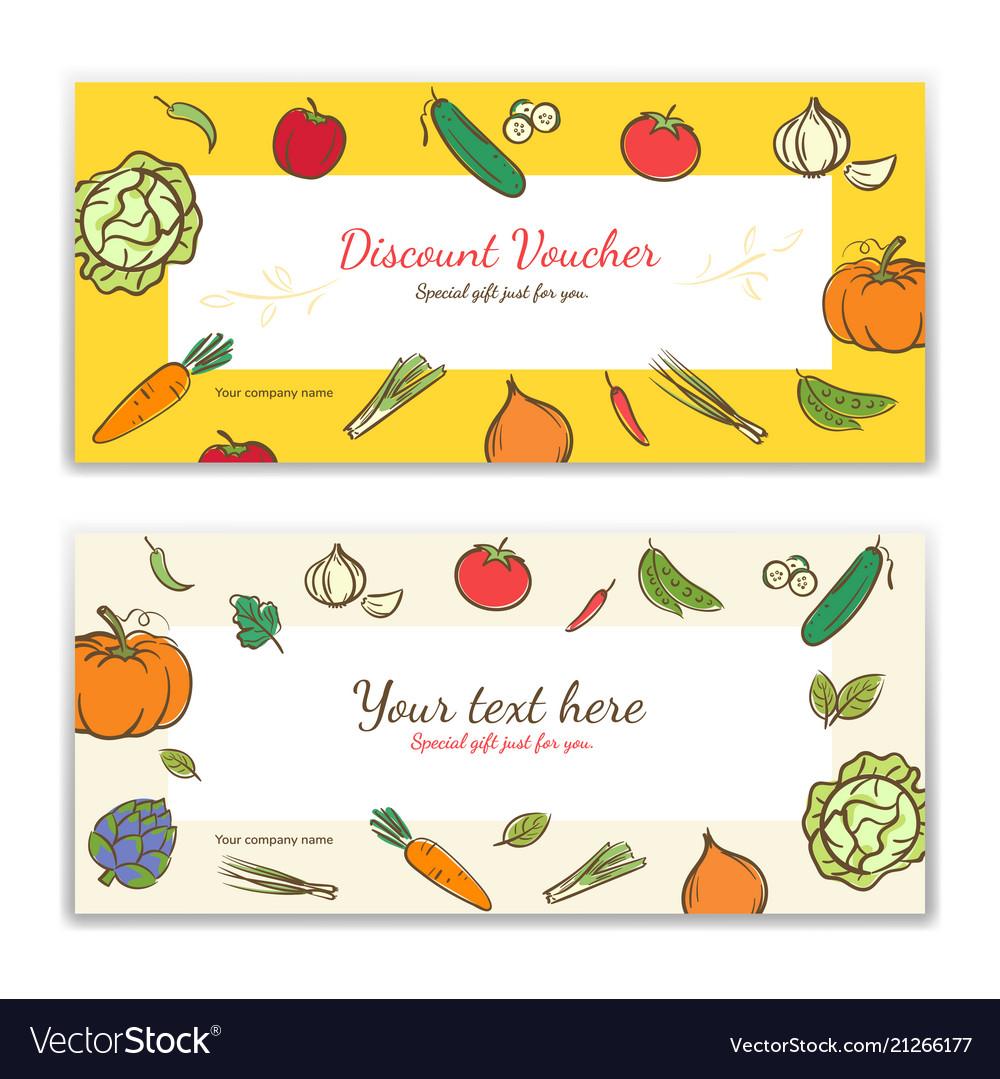 vegetable theme gift certificate voucher gift vector image