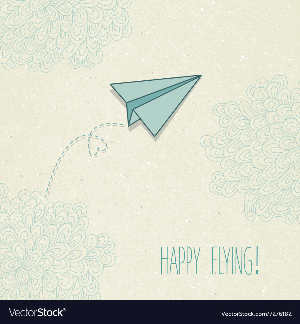 Background with a paper airplane and original
