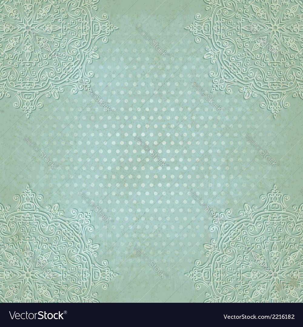 Blue lace grunge polka dot pattern old background
