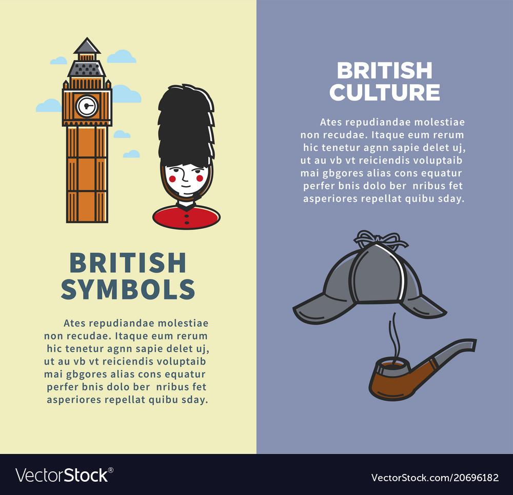 British culture and symbols on vertical brochures