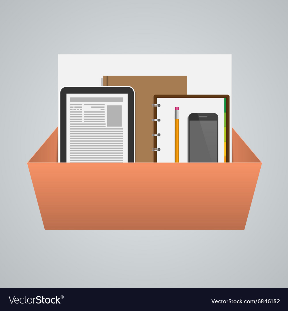 Business box with office supplies Creative concept