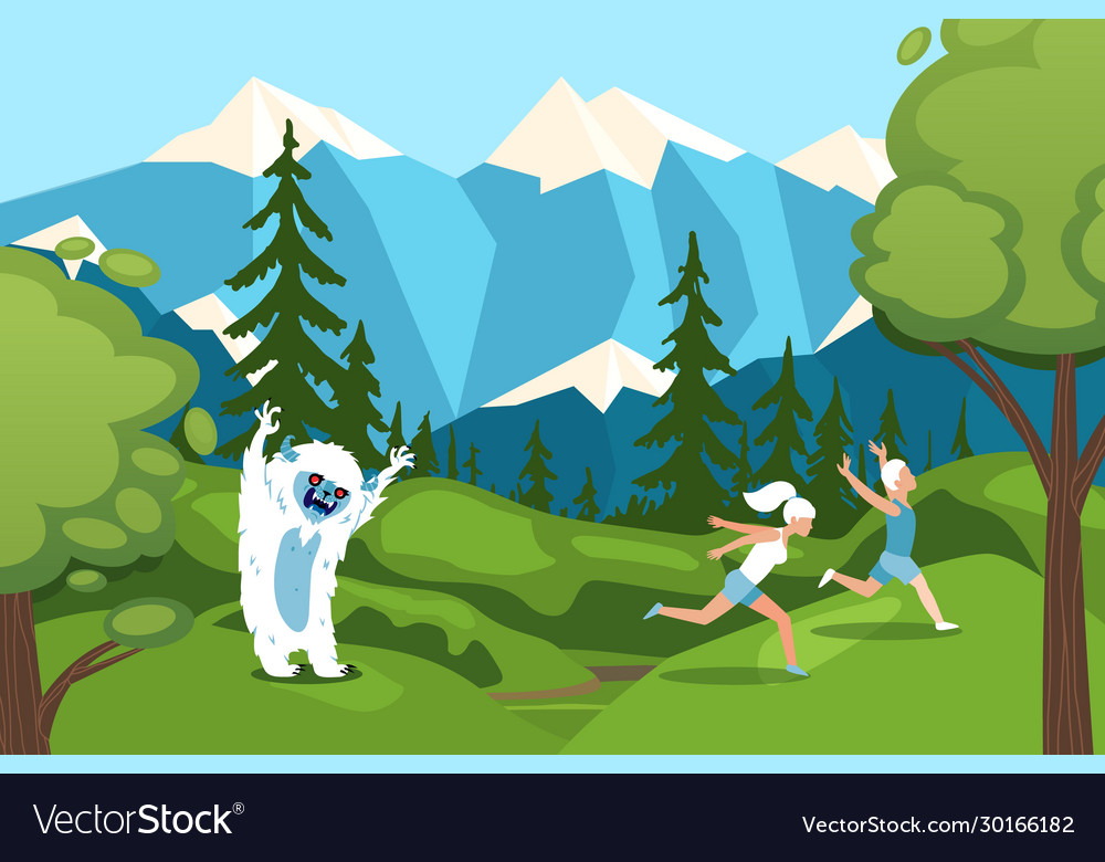 Character man woman running away from bigfoot in