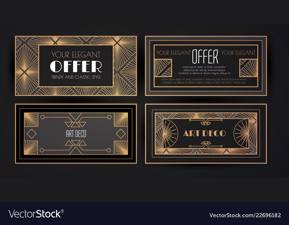 Elegant vintage card templates set in art deco