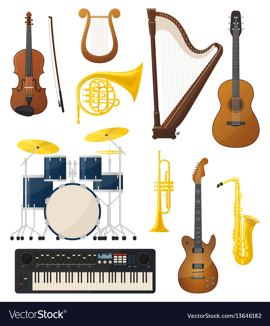 Guitar and drums violin lyre music instruments