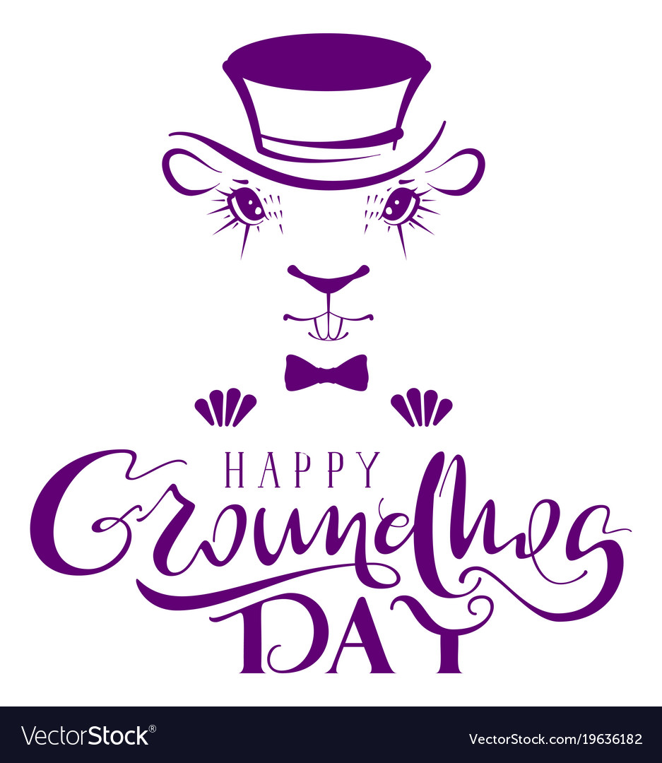 Happy groundhog day marmot silhouette lettering vector image