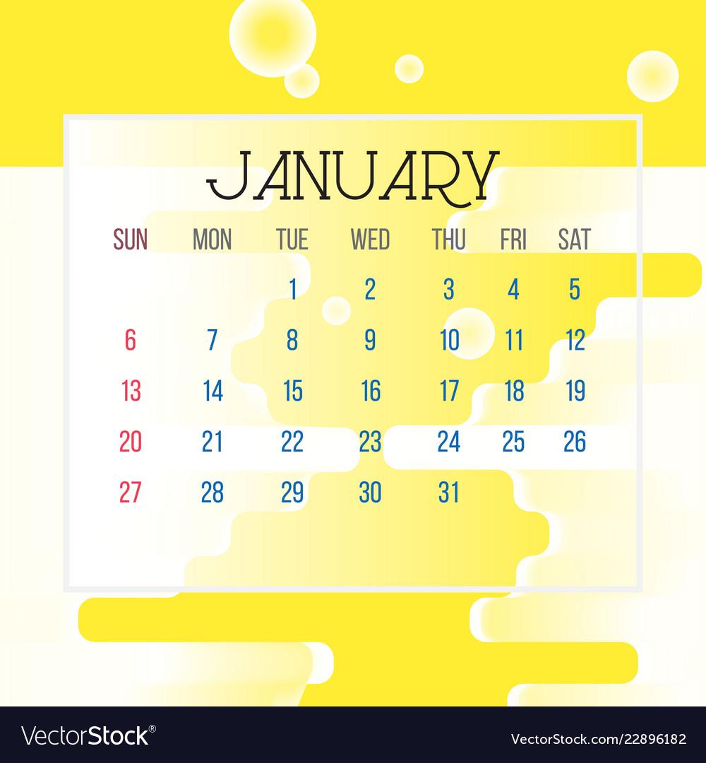 January 29 2019 Calendar January 2019 calendar leaf Royalty Free Vector Image