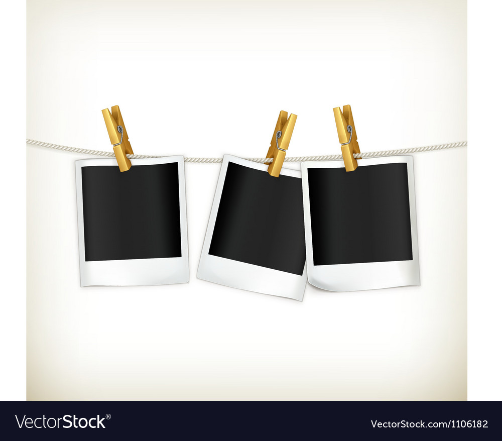 Photos on a rope vector image