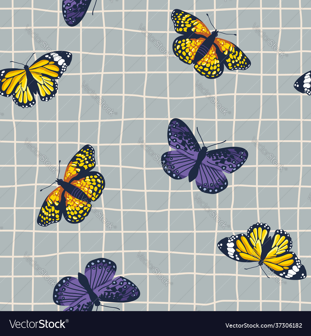Seamless pattern with bright retro butterflies