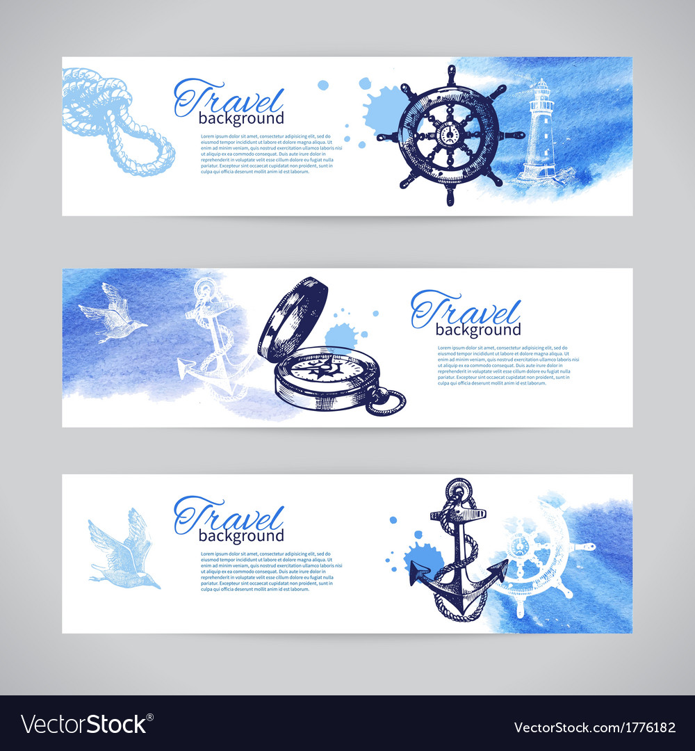 Set of travel banners Sea nautical design