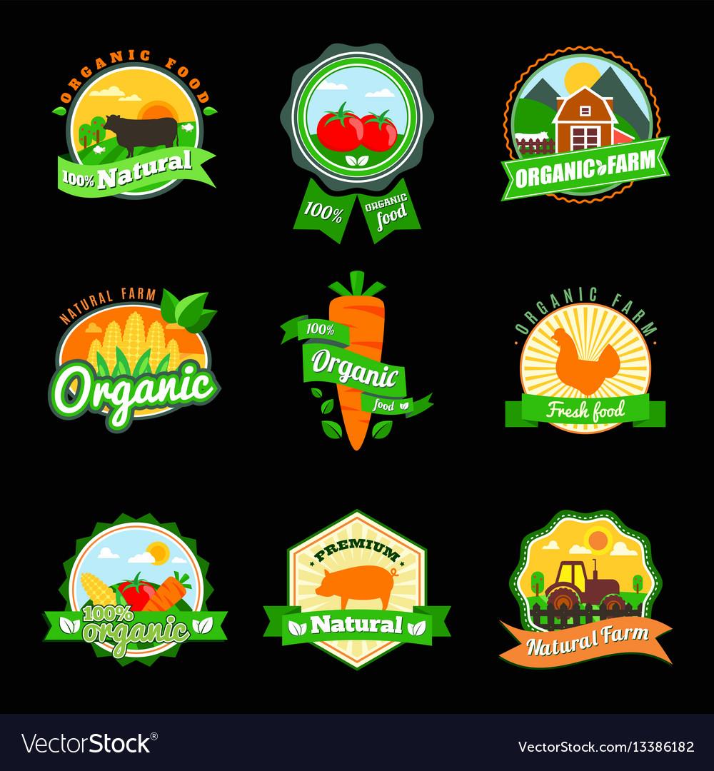 Stevia and organic food label set farm fresh