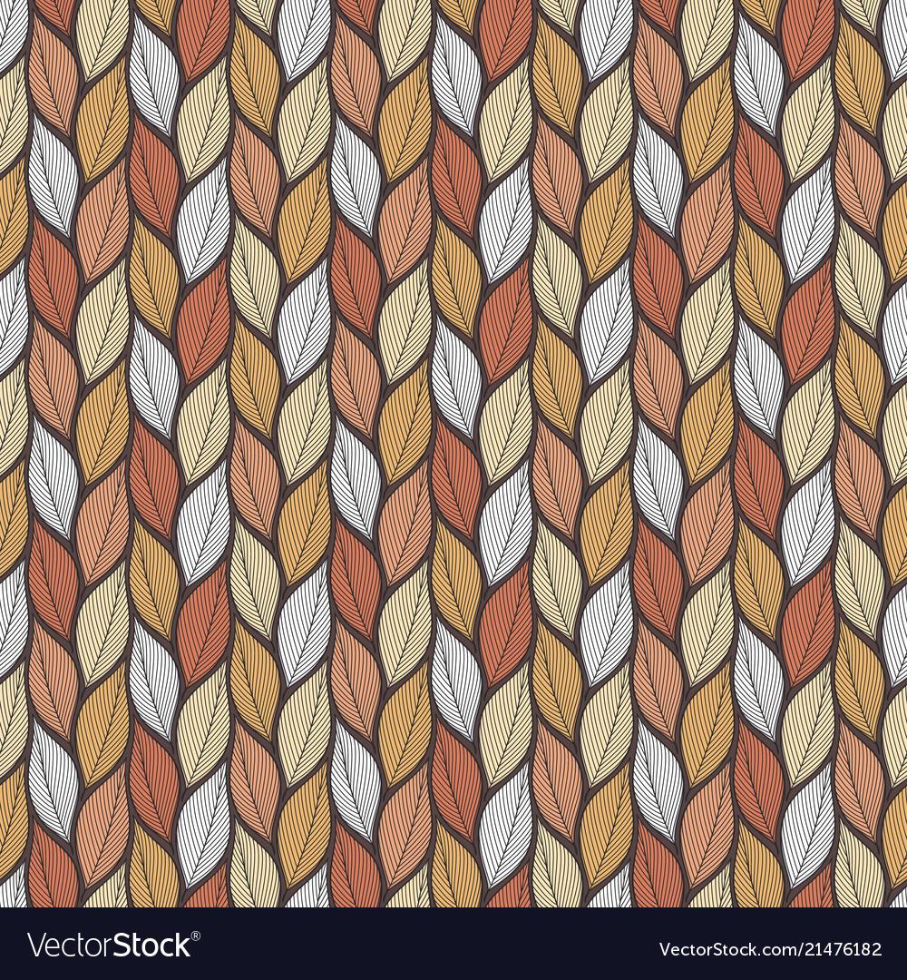 Stylized colorful leaves seamless pattern nature