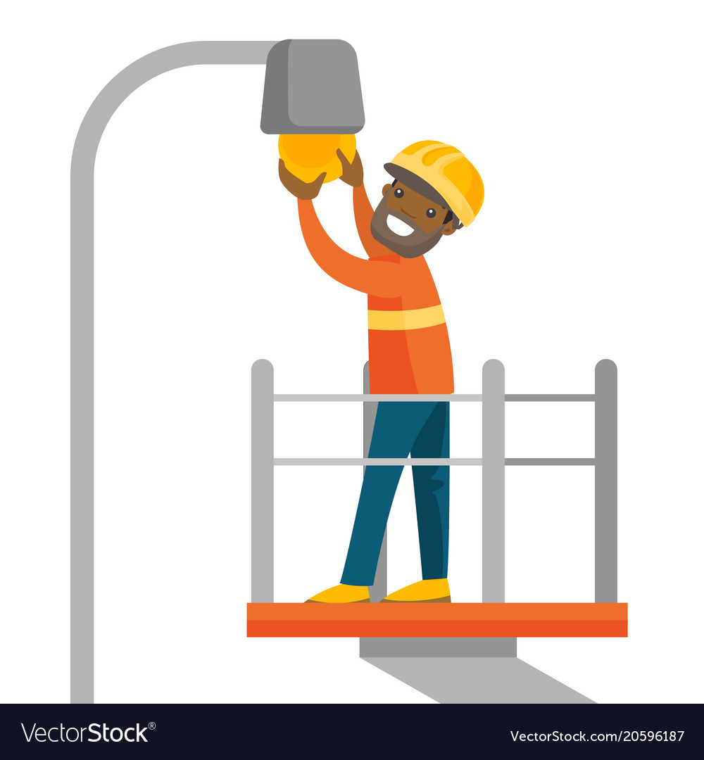 African Electrician Changing A Broken Light Bulb Vector Image Wiring