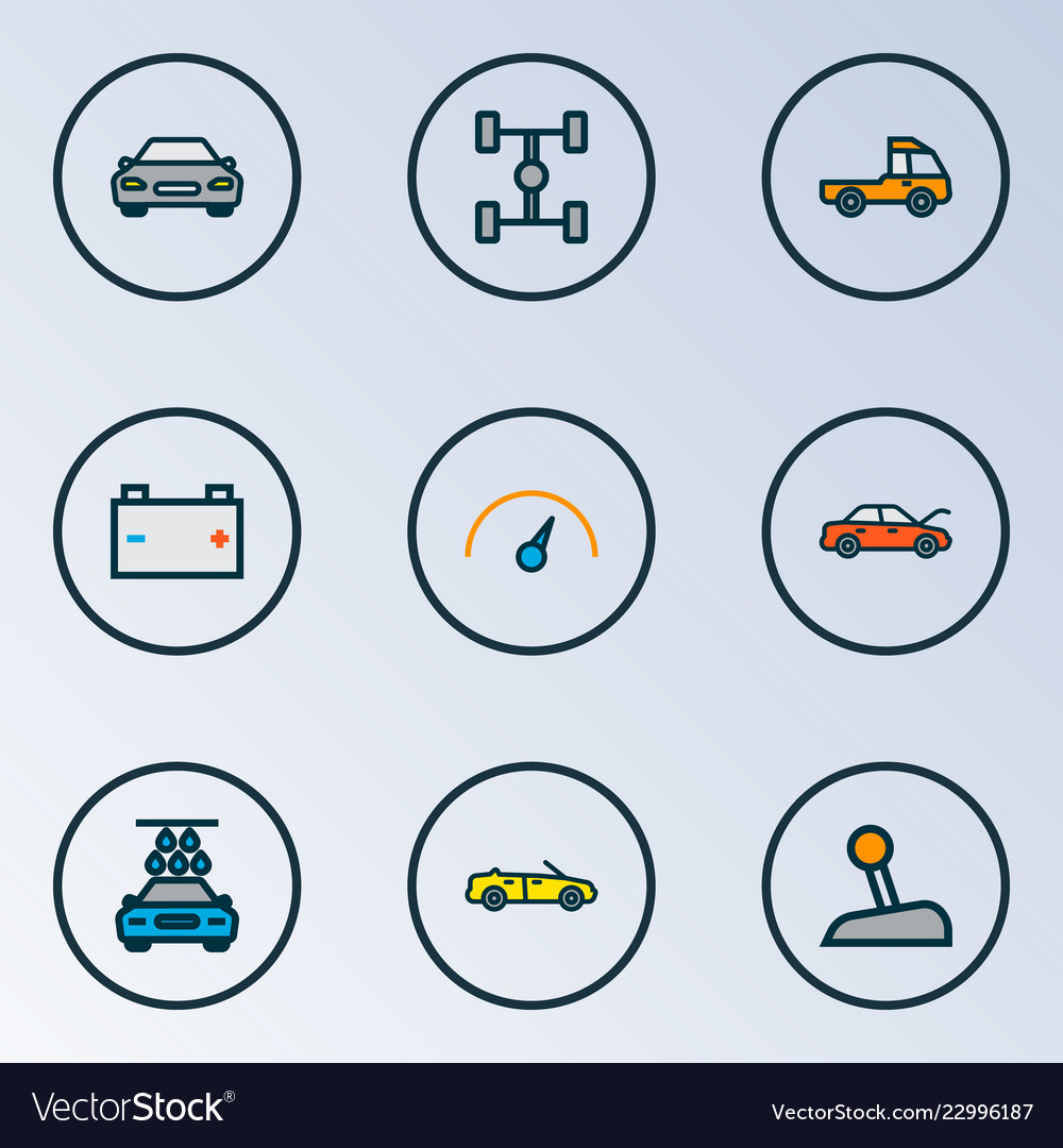 Automobile icons colored line set with speedometer