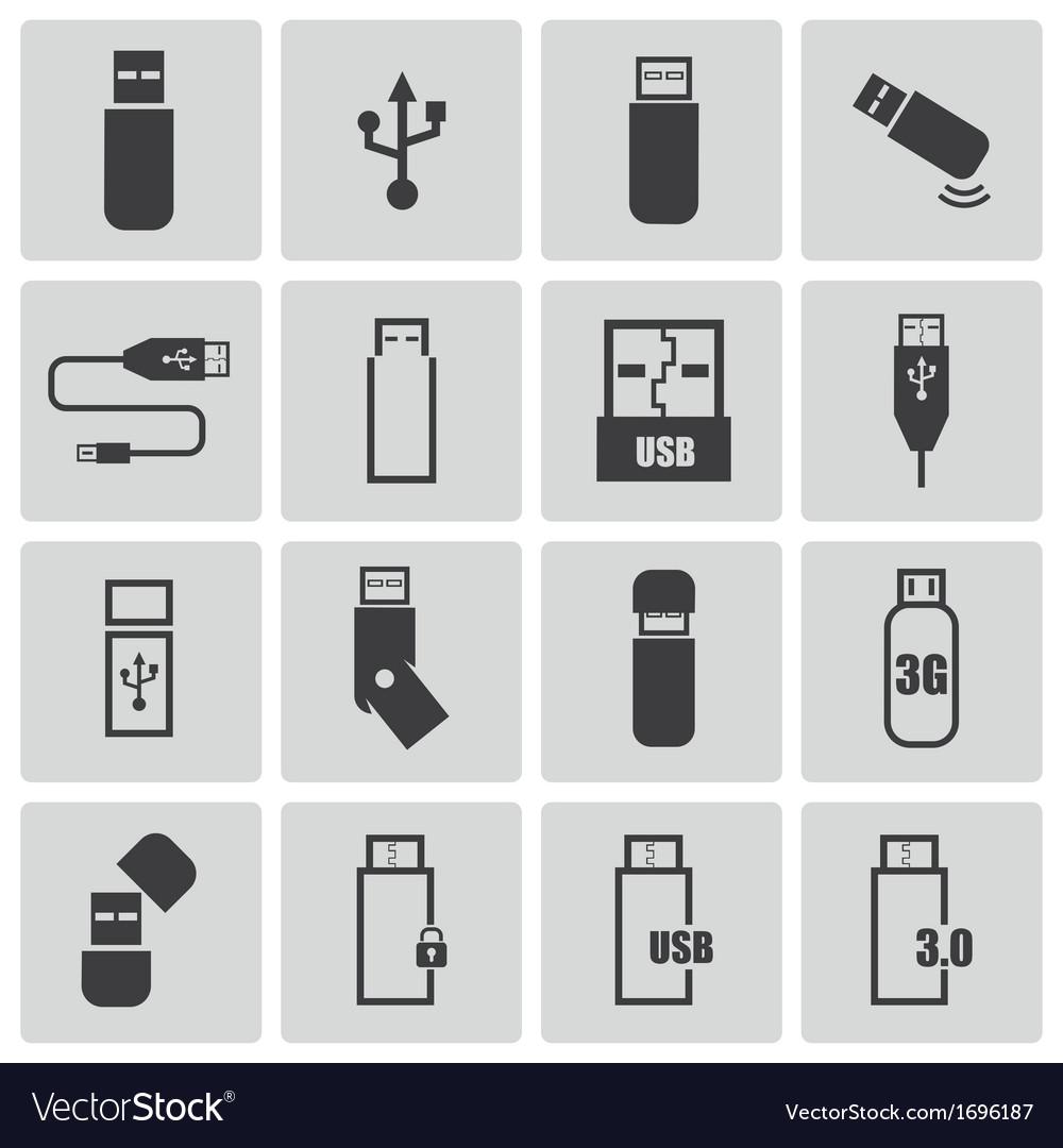 Black usb icons set