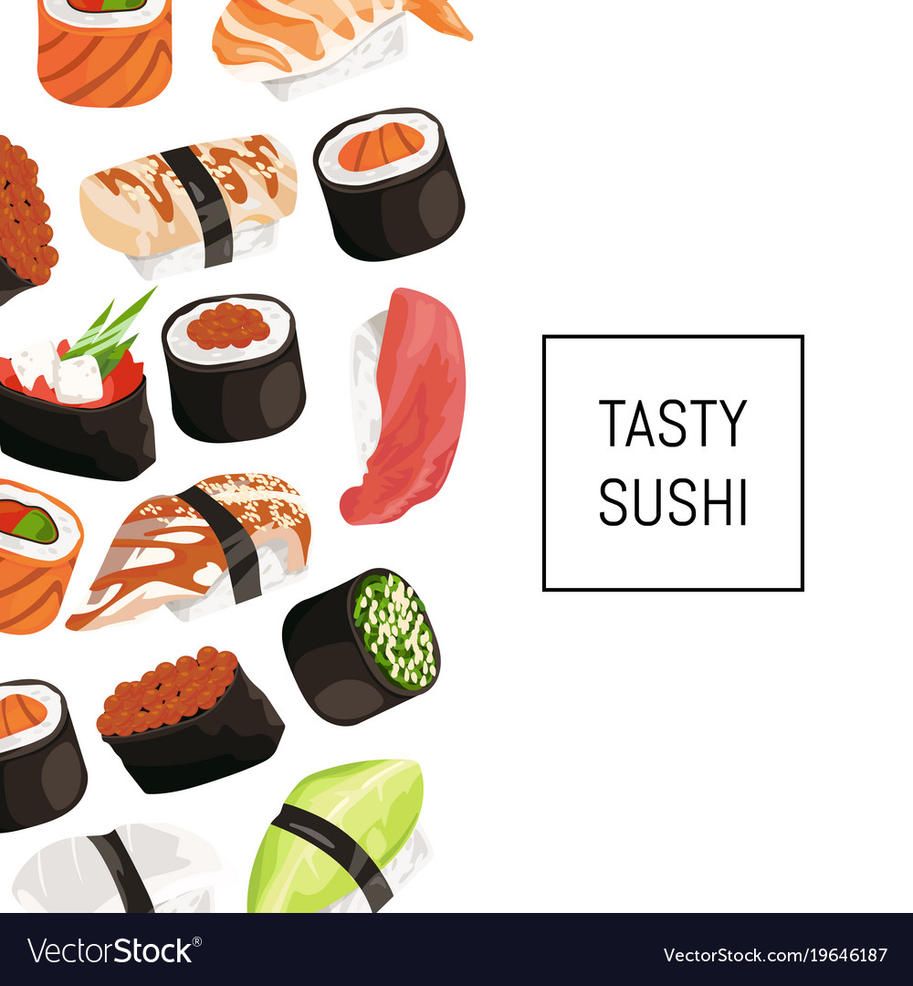 Cartoon sushi types background with place vector image