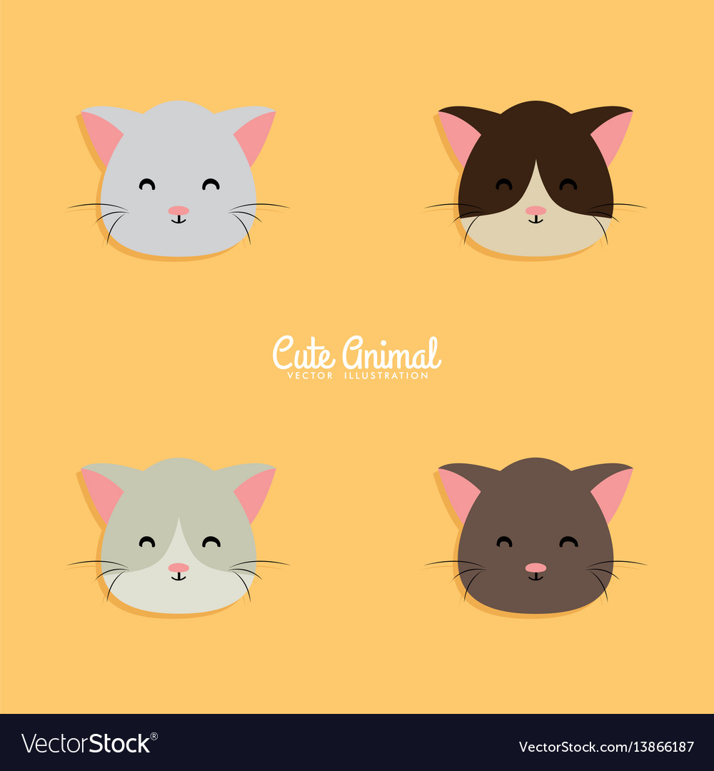 Cat cartoon faces