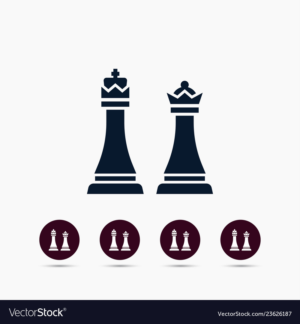 Chess king and queen icon simple game element