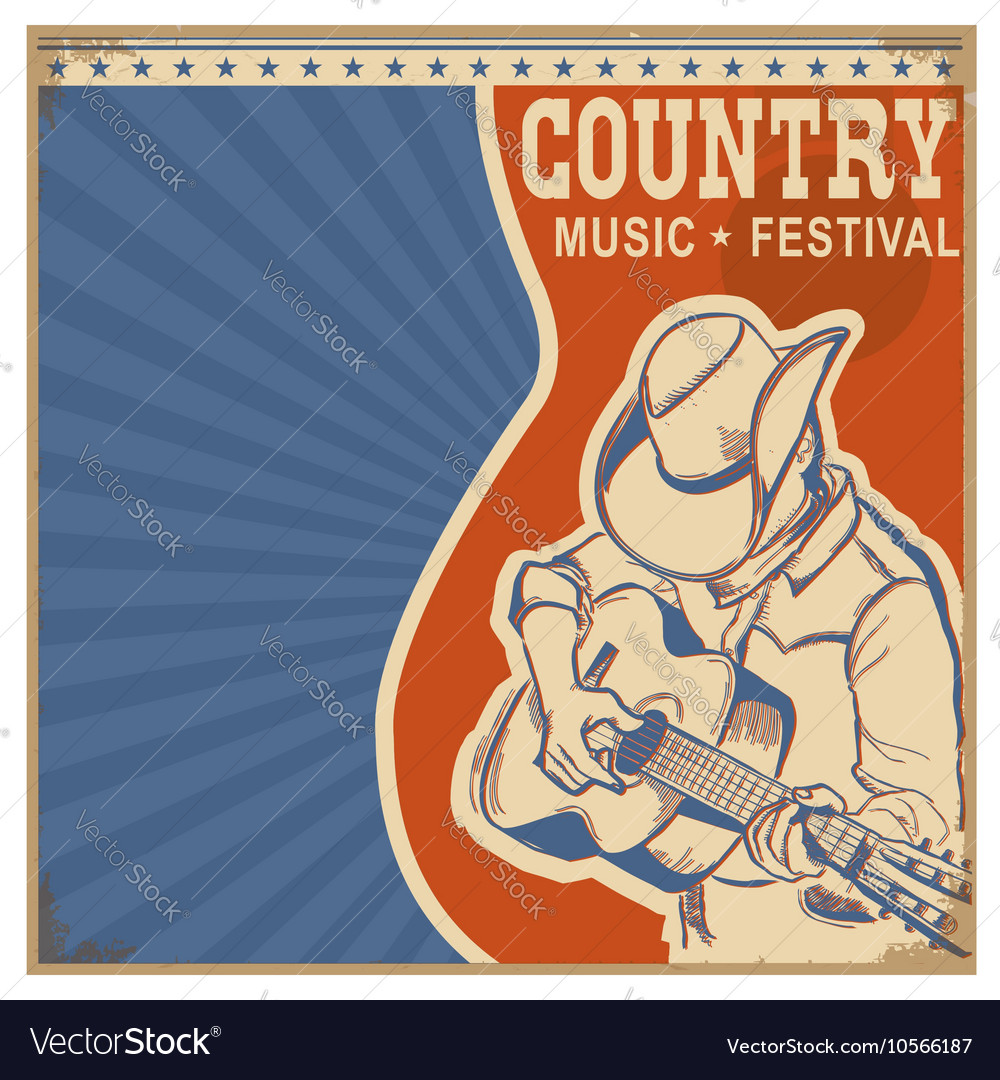 Country music background retro poster with man in