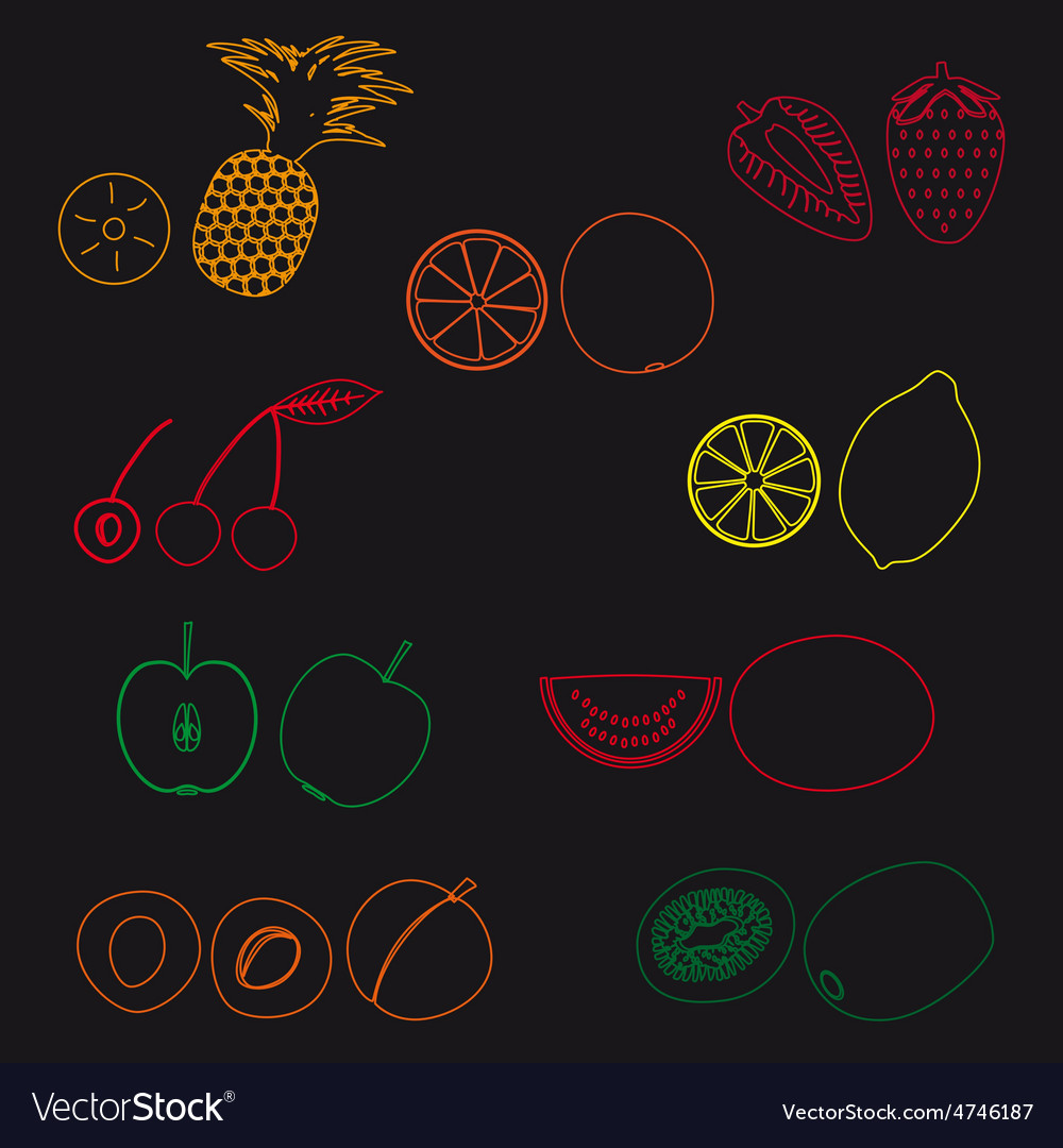 Fruits and half fruits simple outline icons eps10
