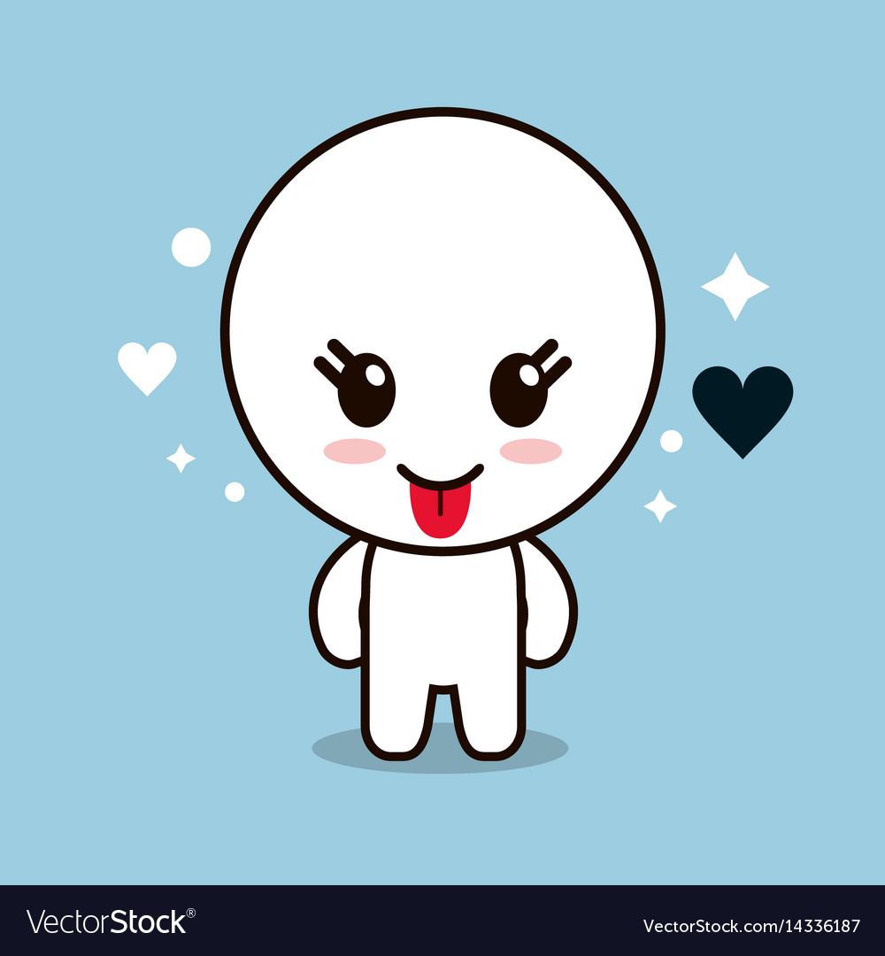 Kawaii cartoon circle face expression cute icon