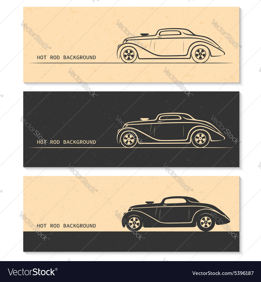 Set of vintage retro hot rod car silhouettes vector image