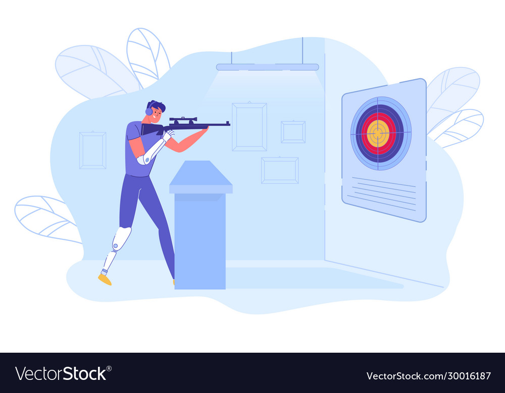 Shooter - disabled athlete with prosthesis aiming