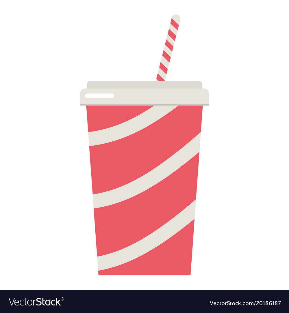 Soda cup icon flat style