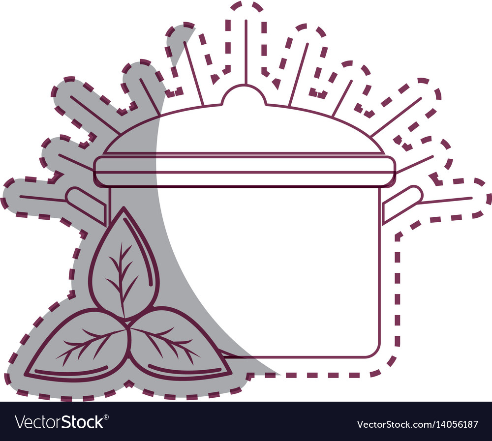 Sticker organ food with pot kitchen and leaves