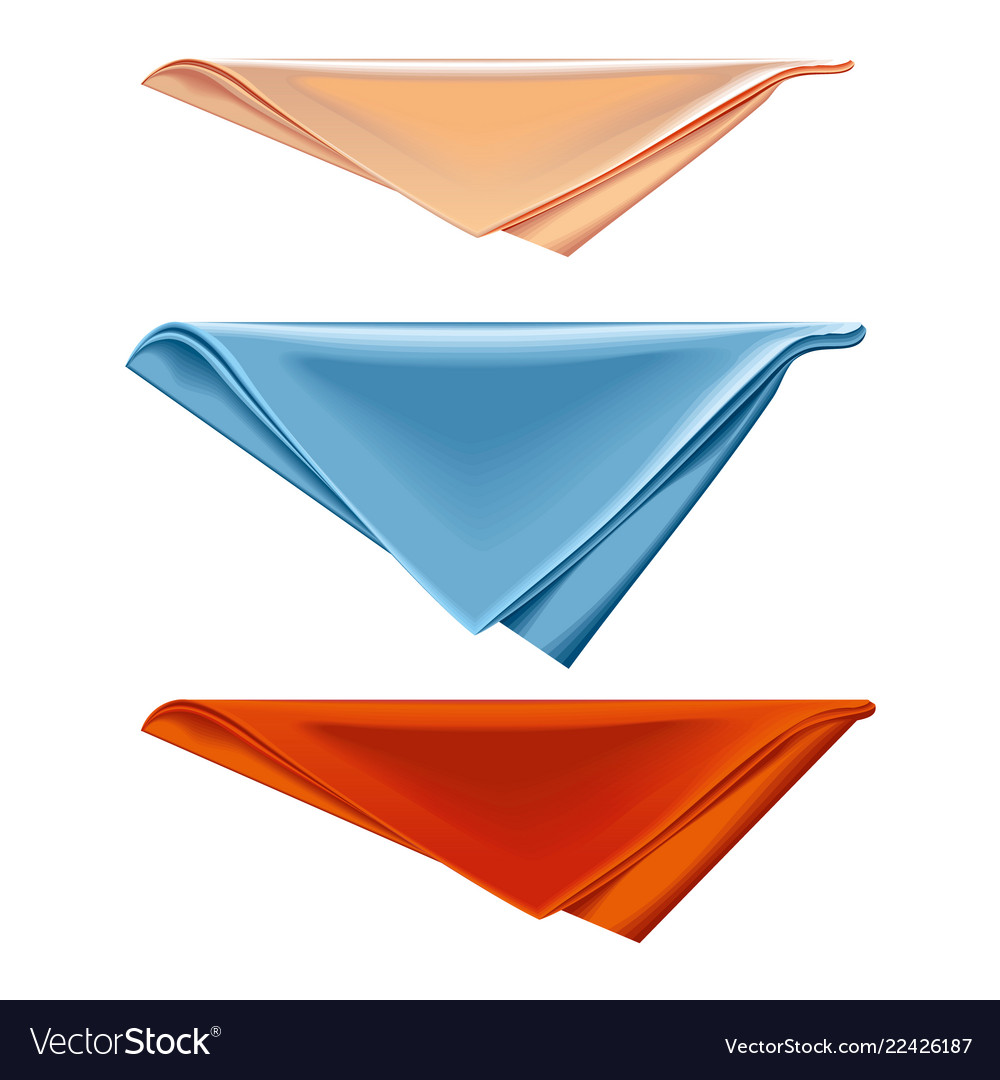 Three Colorful Cotton Kitchen Towels Folded And Vector Image