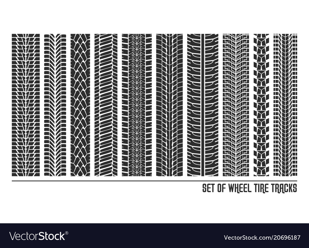 Tyre or tires tracks or patterns of cars or trucks vector image