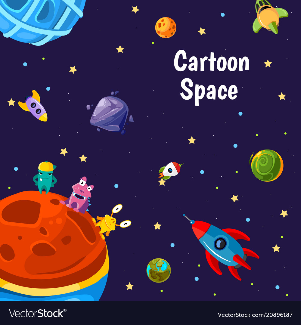 With cartoon space planets and ships